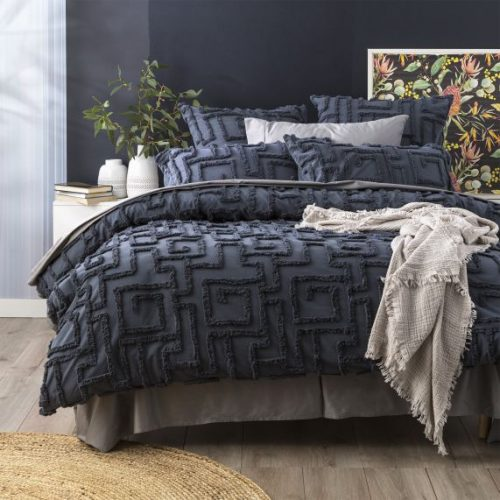 RENEE TAYLOR RILEY TUFTED QUILT COVER BLUE
