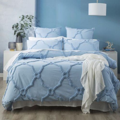 moroccan cotton tufted quilt cover -SKY